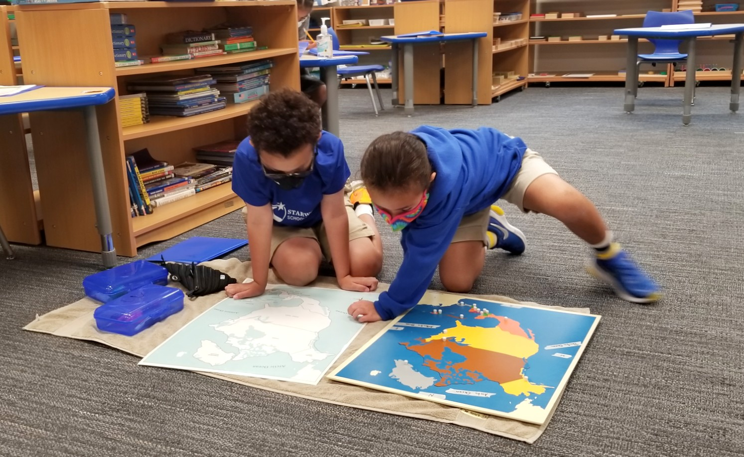 Students working with Montessori Materials
